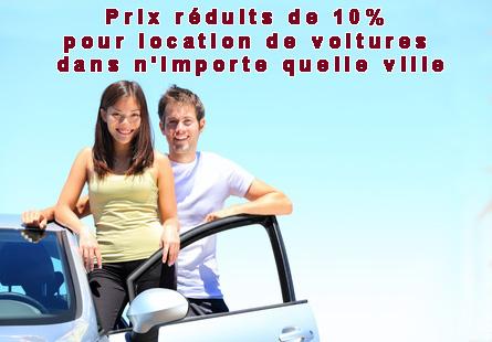 Prix reduits de 10% pour location de voitures